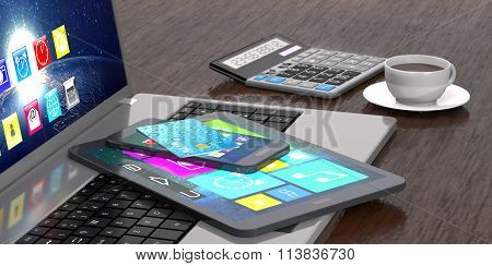 Laptop, Tablet, Smart Phone, Bank Card, Calculator And Cup Of Coffee.