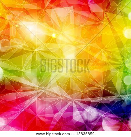Abstract colorful geometric pattern with various light effects. Copy space. Bright, saturated and vivid rainbow colors.