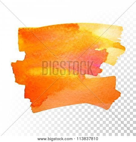 Abstract watercolor art hand paint isolated on transparent background. Vector watercolor stroke stains. Red-orange watercolour banner