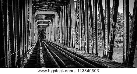 Railway bridge and tracks - single point perspective.