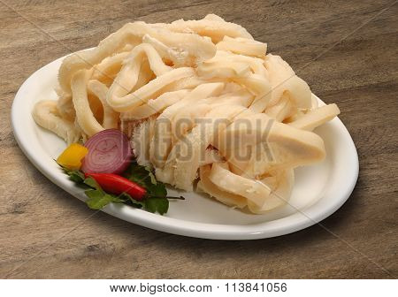 Raw Tripe On Wooden Background