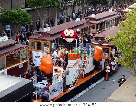 'fear The Beard' Float With Red Circle Character With Beard Smiling