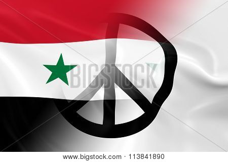 Peace in Syria Concept - Syrian Government Flag overlaid on White Peace Flag 3D Illustration