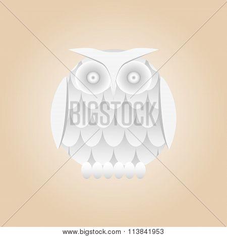 Vector white gradient owl isolated.