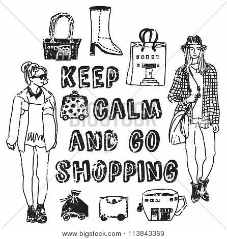 Placard shopping sign woman black and white card.