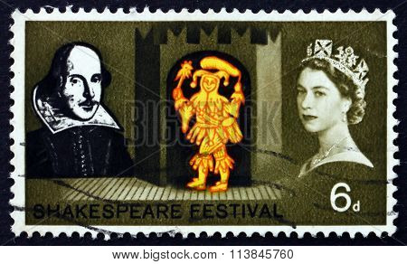 GREAT BRITAIN - CIRCA 1964: a stamp printed in Great Britain shows Feste the Clown from Twelfth Night Shakespeare Festival circa 1964