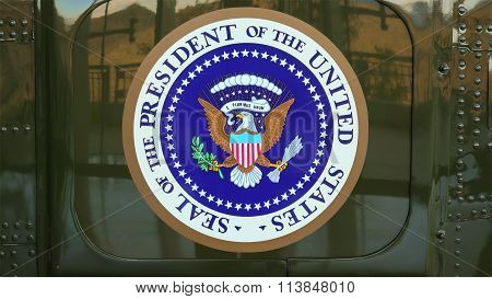Presidential Seal On The Side Of Presidential Helicopter