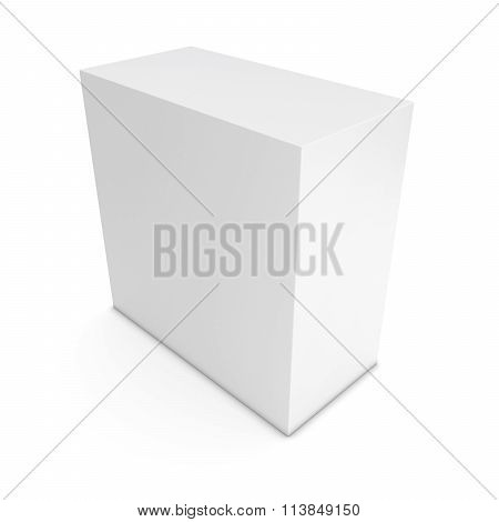 Blank White Cuboid Isolated On White Background