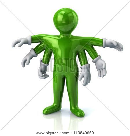 Green Cartoon Character Man With Six Hands