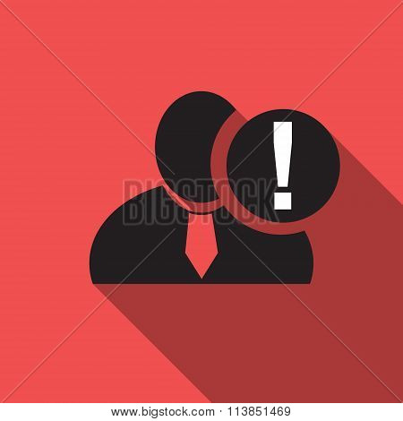 Exclamation Black Man Silhouette Icon On The Vintage Red Background, Long Shadow Flat Design Icon Fo