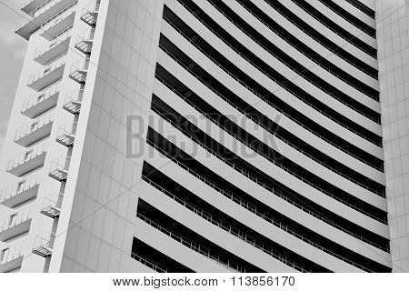 angle view to textured background of modern glass building