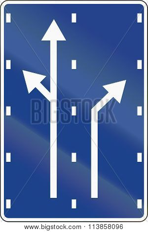 Road sign used in Spain - Lane preselection. poster