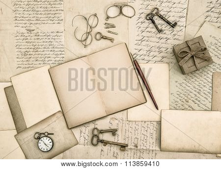 Vintage Handwriting And Antique Office Tools Paper