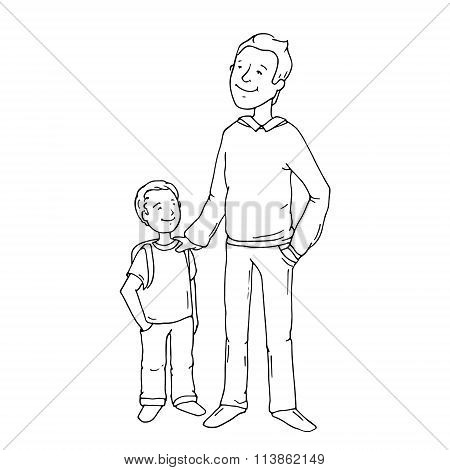 Cartoon Doodle Father And Son Smiling.