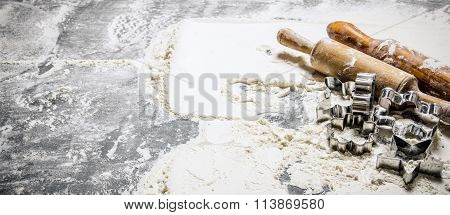 Preparation Of The Dough. Flour With A Rolling Pin And Shape For Cookies.