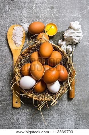 Set A Basket Of Eggs, Whisk With Beaten Egg .
