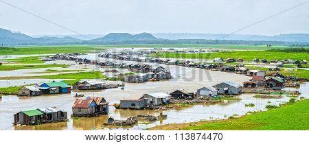 Panoramic riverside fishing villages of Dong Nai, Vietnam
