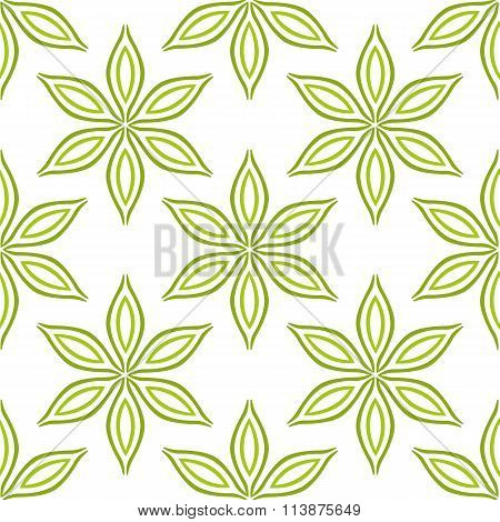 Simple green flowers seamless pattern