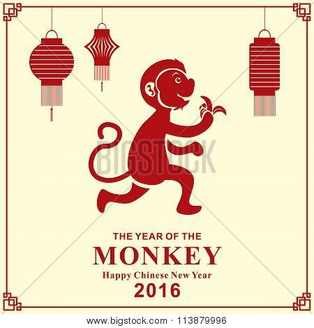 Vintage Chinese new year poster design with Chinese Zodiac monkey.