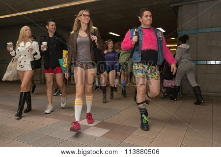 Participants In The Subway Without Pants