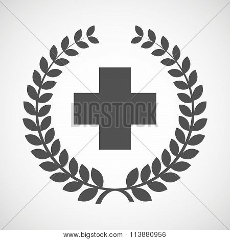 Isolated Laurel Wreath Icon With A Pharmacy Sign