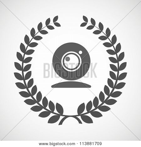 Isolated Laurel Wreath Icon With A Web Cam