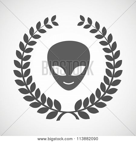 Isolated Laurel Wreath Icon With An Alien Face