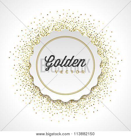 Gold Glitter Sparkles Bright Confetti White Paper Label Frame Vector Background