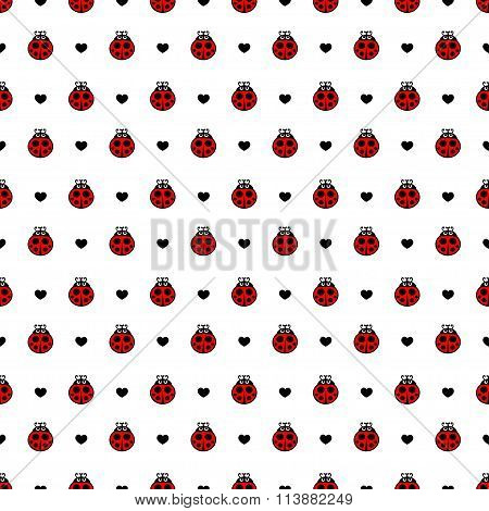 Red  ladybirds and hearts seamless vector pattern