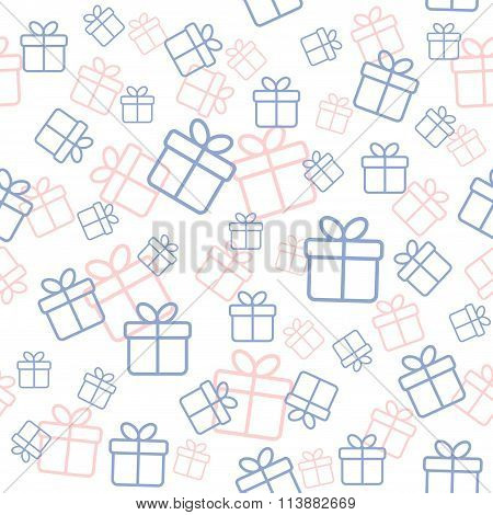 Seamless white pattern with gift boxes in trendy colors serenity and rose quarz