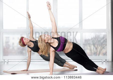 Senior Women Doing Side Plank Exercise