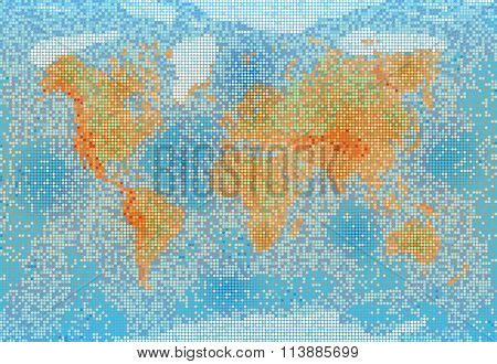 World Map With Relief Depth And Height
