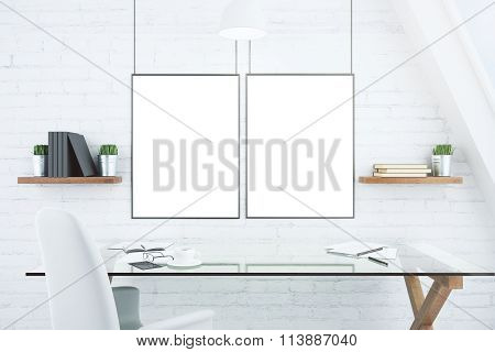 Blank white picture frames on brick wall in modern office with glassy table mock up poster