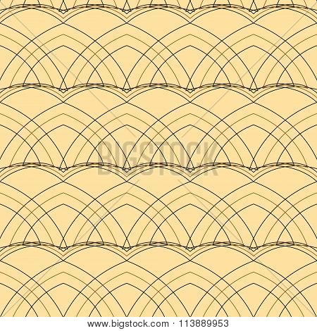 Beautiful seamless elegant cream pattern with curved black and brown arc lines for various projects. Vector illustration for beautiful creative design poster