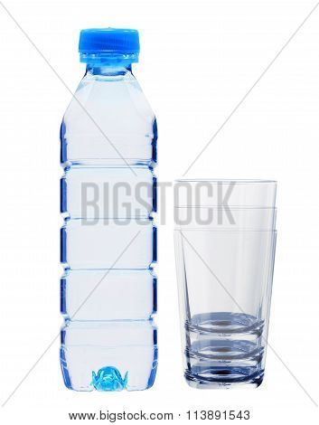 Blue Bottle With Water And Glasses Isolated On White