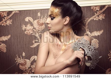Stunning Woman With Glitter Carnival Look
