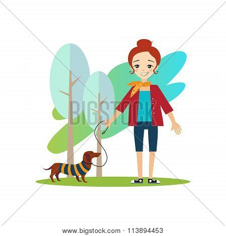 Walking a Dog. Daily Routine Activities of Women. Colourful Vector Illustration poster
