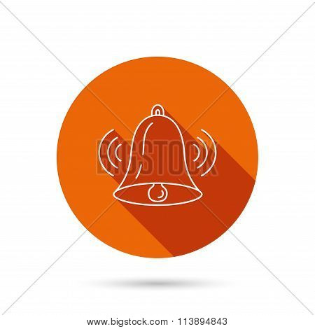 Ringing bell icon. Sound handbell sign.