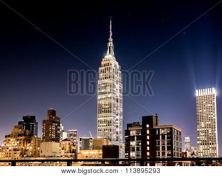 NEW YORK USA - JANUARY 5 2015: The Empire State Building at night. The Empire State Building is a 102-story landmark in New York.