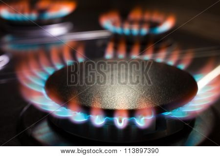 Gas Burner Flame At Gas Stove