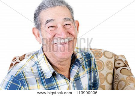 Mexican Man With Smile On Chair