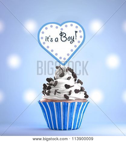 Newborn Baby Boy card message on a delicious cupcake