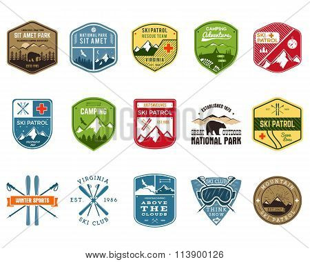 Set of Ski Club, Patrol Labels. Vintage Mountain winter camp explorer badges. Outdoor adventure logo