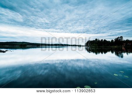 Beautiful Swedish Lake Landscape at Dusk