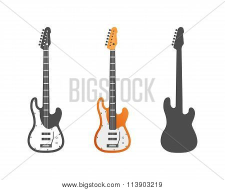 Electric guitars vector icons set. Guitar isolated icons vector illustration. Guitars isolated on wh