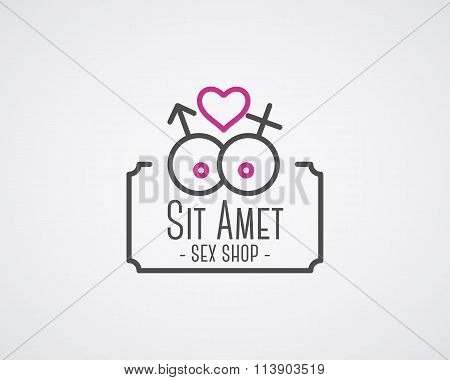 Cute Sex shop logo and badge design template. Sexy label. Vector xxx elements. Adult store symbol, i