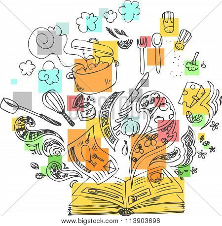 Cooking book and ingredients