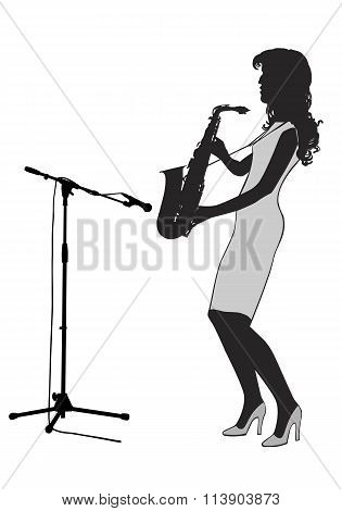 Girl Saxophonist Silhouette