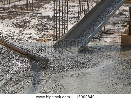 Concrete Pouring During Commercial Concreting Floors Of Buildings