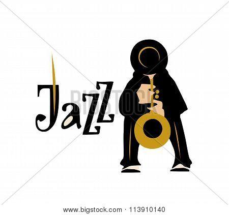 Man playng saxophone. Jazz inscription. Vector illustration.